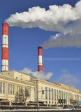 Thermal power station at embankment of Moscow River Stock Images