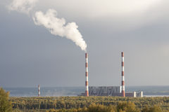 Thermal power station gloomy autumn day Royalty Free Stock Photos