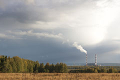 Thermal power station gloomy autumn day Royalty Free Stock Photo