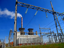 Thermal power station, and the high voltage grid Stock Photography