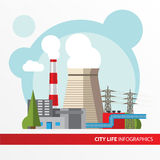 Thermal power station illustration in a flat style. City infographics set. All types of power stations. Stock Photo