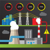 Thermal power station illustration. Trendy infographics set. All types of power plants. Stock Photo