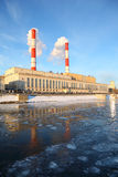 Thermal power station on Moscow River. Pipes and smoke, air pollution Stock Images