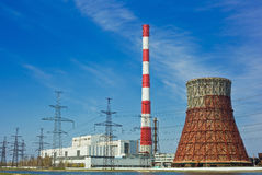 Thermal power station and power line Stock Photography