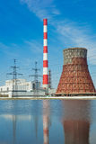 Thermal power station and power line Royalty Free Stock Photography