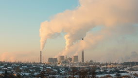 Thermal power station. Timelapse shot in the evening