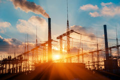 Thermal power stations and power lines on a clear day Stock Photography