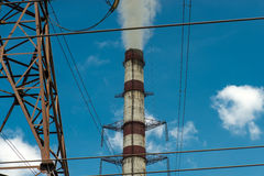 Thermal power stations and power lines. Distribution electric substation Royalty Free Stock Photography