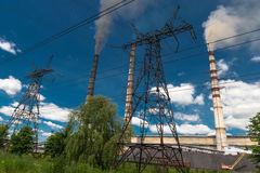 Thermal power stations and power lines. Distribution electric substation Stock Photos