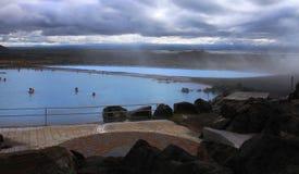 Thermal spa pools near Myvatn lake, Iceland royalty free stock image