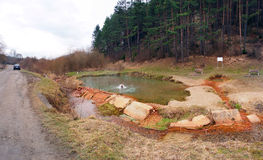 Thermal spring Medokys, Natural Monument, Kalameny Stock Photos