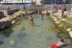 Thermal spring outlet at Comarruga Coma Ruga beach. El Vendrell, Catalonia, Spain stock photography