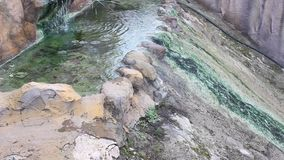 Thermal spring water falling rock stock footage