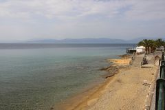 Thermal springs on the beach in Loutra Edipsou Royalty Free Stock Photography