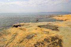 Thermal springs on the beach in Loutra Edipsou Stock Image