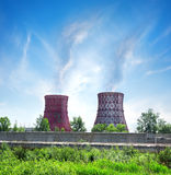 Thermal station and smoke stack Stock Photo