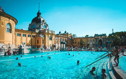 Thermal swimming pool in Budapest, Hungary. Favourite place to take a rest for people Royalty Free Stock Images