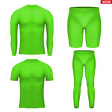 Thermal underwear layer compression set. Green Base layer compression set of thermal fabric. Sample typical technical illustration.  Vector Illustration isolated Stock Photos