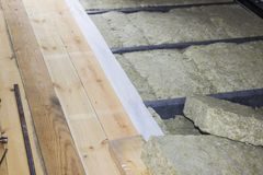 Thermal insulation of the floor in the frame house Stock Image