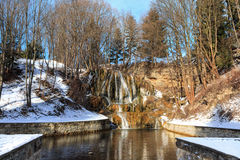 Thermal waterfall in winter - Slovakia royalty free stock photography