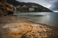 Thermal waterfalls on the beach in Loutro Edipsou, Evia, Greece Stock Photos