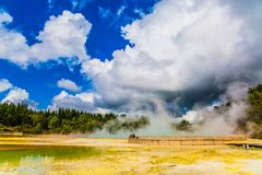 Thermal Wonderland is Wai - O - Tapu. Thermal Wonderland. The magic country is Wai - O - Tapu. Lake with light yellow opaque water. New Zealand, North Island royalty free stock photos