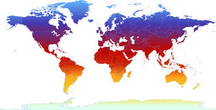 Thermal World Map. Vector clip art map atlas of the world, with all countries and borders showing. Colored in thermal raibow gradients. Antarctica is included stock illustration