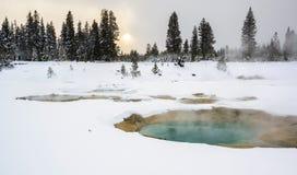 Thermalen slår samman på den västra tumen, Yellowstone Arkivfoton