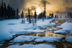Thermalen slår samman på den västra tumen, Yellowstone Arkivbilder
