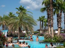 Therme Balotesti - beautiful and relaxing area near Bucharest. In a sunny day wit many people in the water royalty free stock photos