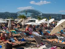 Therme Balotesti - beautiful and relaxing area near Bucharest. In a sunny day wit many people royalty free stock photography
