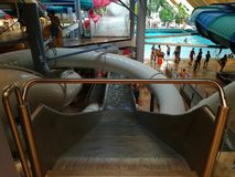 Therme Bucharest - Galaxy zone. Therme Bucharest - Galaxy special area for families with indoor slides and waves pool stock image