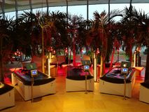 Therme Bucharest - hydromassage area. And palm trees royalty free stock photos