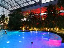 Therme Bucharest, Palm Zone in the night royalty free stock image