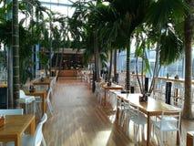 Therme Bucharest restaurant and bar. Therme Balotesti, Romania - corridor to the restauranta and bar stock photos