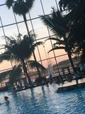 Therme Bucharest Romania. Pool spa beach royalty free stock images