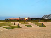 Therme Bucharest - side view at sunset Stock Image
