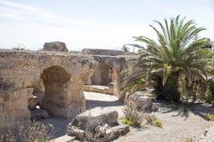 Thermes av Antoninus Pius på Carthage arkivbilder