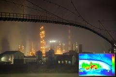 Thermisch Beeld van rafinery van de Olie Royalty-vrije Stock Afbeeldingen