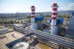Thermische elektrische centrale Royalty-vrije Stock Foto's