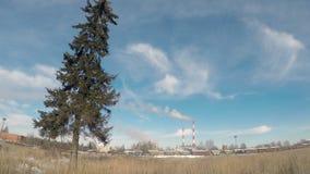 Thermische elektrische centrale of een fabriek met Rokende schoorstenen en een solitaire boom stock videobeelden