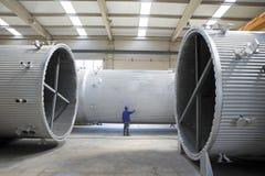 Thermische elektrische centrale het koelen schoorstenenproductie Royalty-vrije Stock Foto's