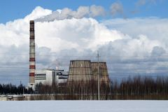 Thermische elektrische centrale in Kostroma Rusland stock foto's