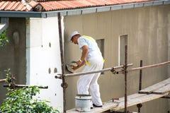 Thermische isolatie van het buitenmuurpaneel op huis royalty-vrije stock foto