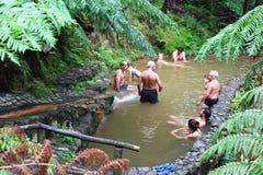 Thermische pools van Caldeira Velha op het eiland van Saomiguel, de Azoren Royalty-vrije Stock Afbeelding