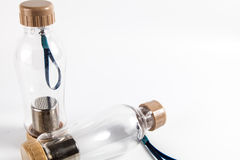Thermo Flasche mit rechtem freiem Raum Stockfoto