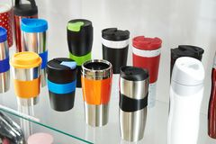 Thermo mugs in shop Stock Image