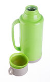Thermo, Plastic Thermo flask on background. Stock Image