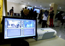 Thermo scanner. Airport officials operate thermo scanner to anticipate the virus zika in Boyolali, Central Java, Indonesia royalty free stock photography