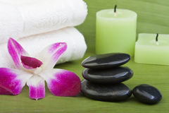 Thermo-therapy stones with orchids (1) Royalty Free Stock Images